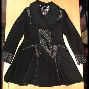 Jackets & Blazers - Black Gothic Steampunk Pleated Military Flare Coat